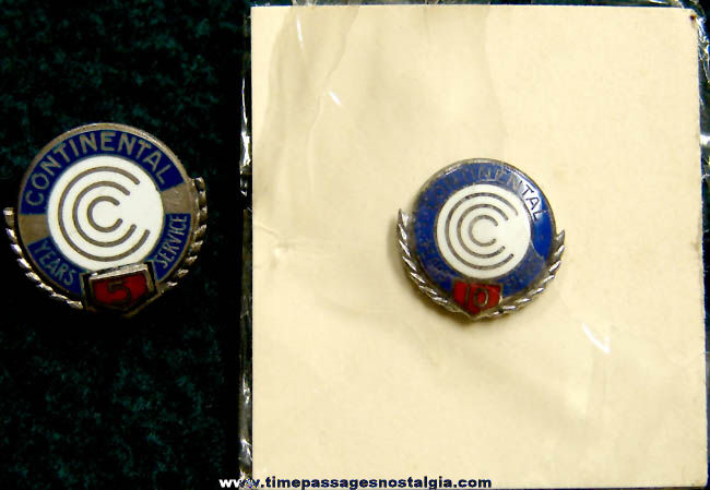 (2) Old Continental Can Company Sterling Silver Employee Award Pins