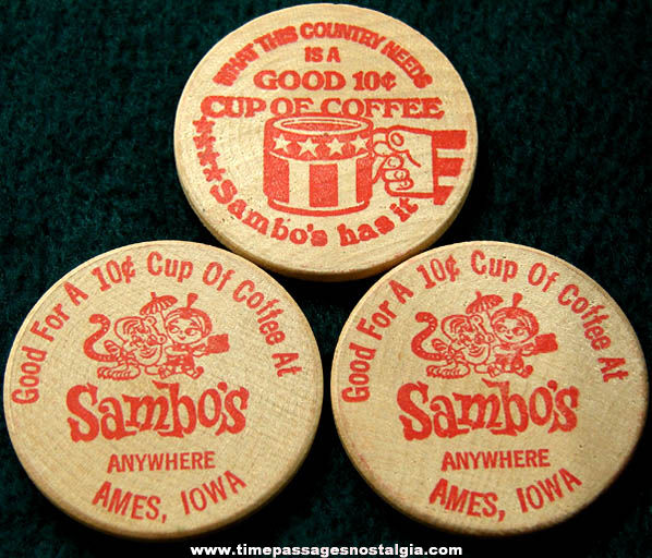 (3) 1970s Sambo's Restaurant Coffee Advertising Wooden Token Coins
