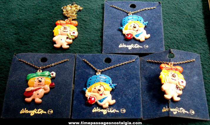 (5) Old Colorful Unused Cartoon Character Dog Childrens Necklaces