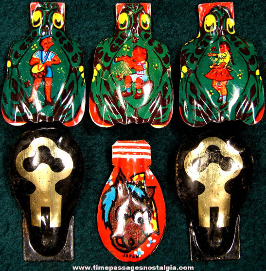(6) Colorful Old Lithographed Tin Clicker Noisemakers