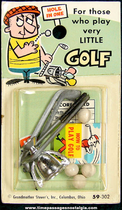 Unopened 1960s Grandmother Stovers Miniature Toy Golf Sport Set