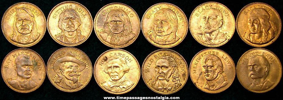 (12) Different Old Brass Western Hero Premium Coins
