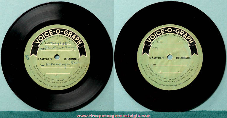 1955 Norumbega Park International Mutoscope Reel Company Voice-o-graph Record