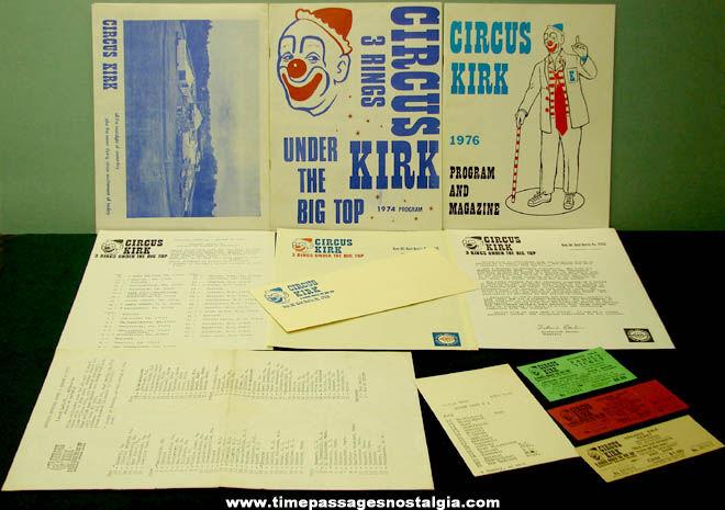 (11) 1974 - 1976 Circus Kirk Circus Advertising Paper Items
