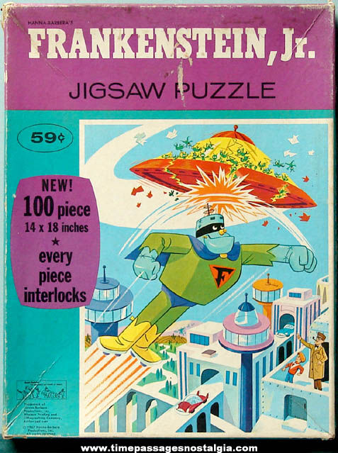 Boxed ©1967 Frankenstein Jr. Cartoon Character Jigsaw Puzzle
