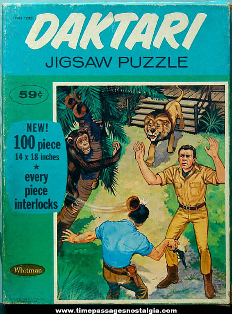 Boxed ©1967 Daktari Cartoon Character Jigsaw Puzzle