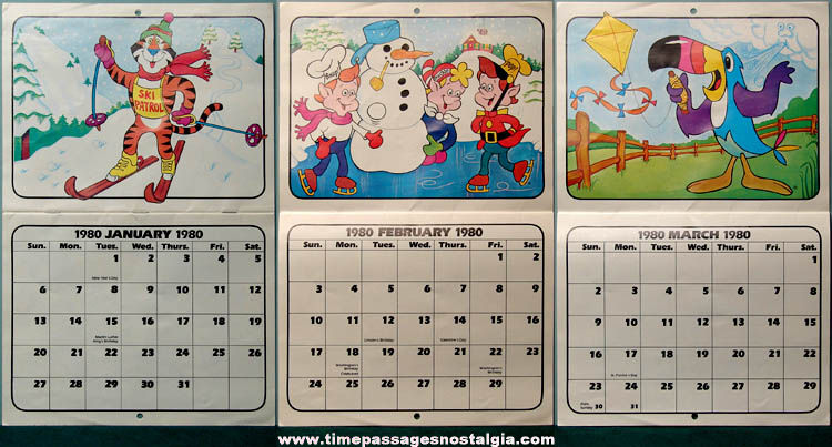 1980 Kelloggs Cereal Character Advertising Premium Calendar Tpnc