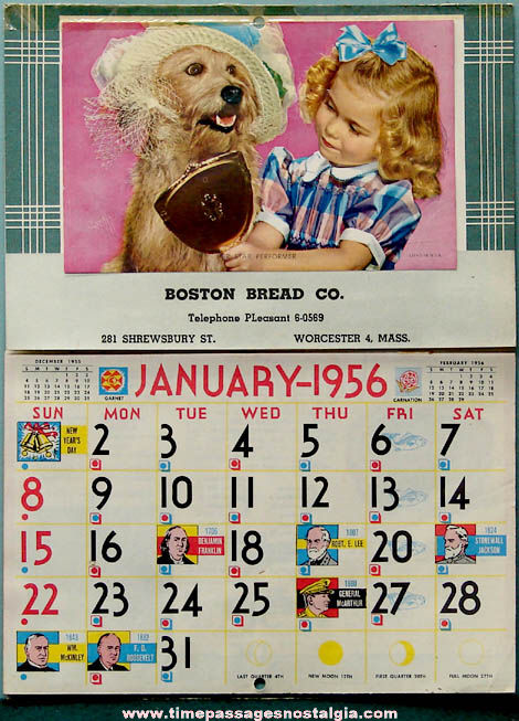 1956 Boston Bread Company Advertising Premium Calendar