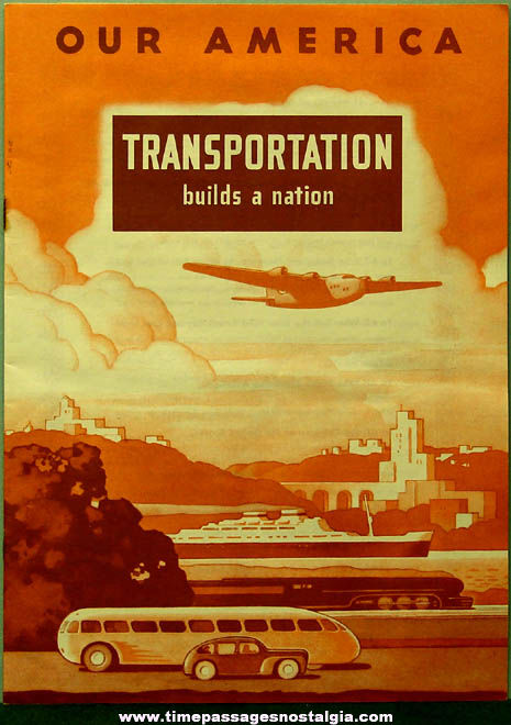 ©1943 Coca Cola Premium Our America Transportation Booklet with (20) Colorful Cards