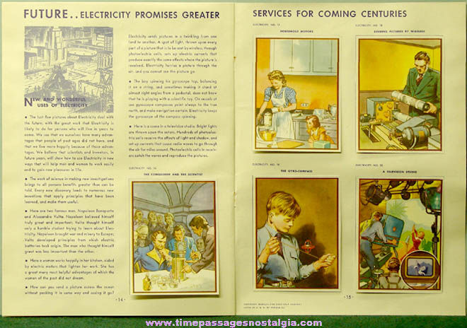 ©1942 Coca Cola Premium Our America Electricity Booklet with (20) Colorful Cards