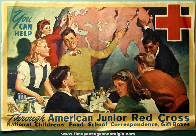 Colorful Old American Junior Red Cross Advertising Poster ...
