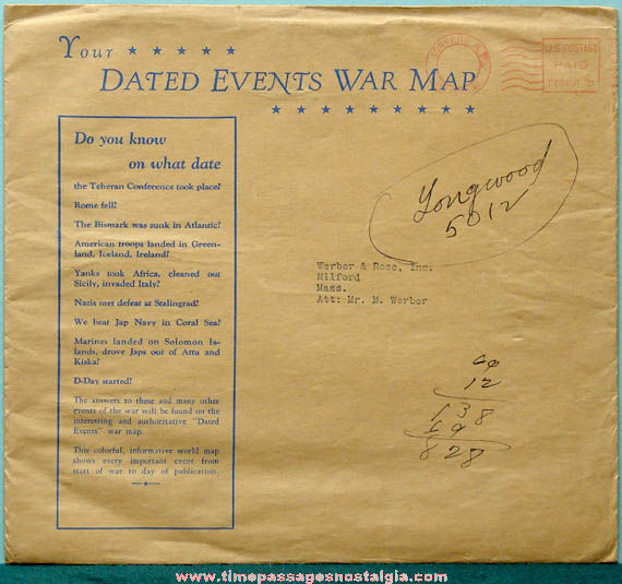©1942 Advertising Premium Dated Events World War II Map & Envelope