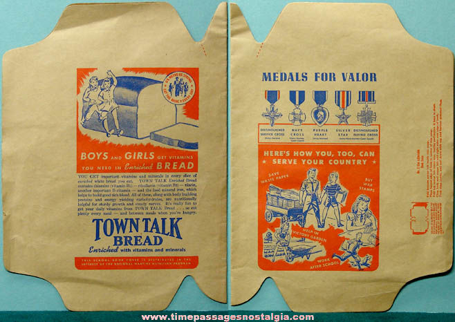 Unused 1940s World War II Town Talk Bread Advertising Premium Book Cover