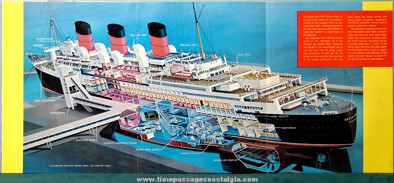 1970s R.M.S. Queen Mary Ship Book & Advertising Brochure
