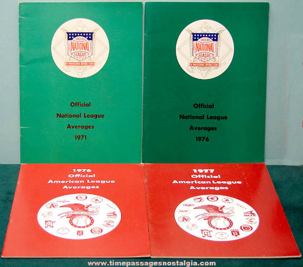(4) 1970s National & American Baseball League Books