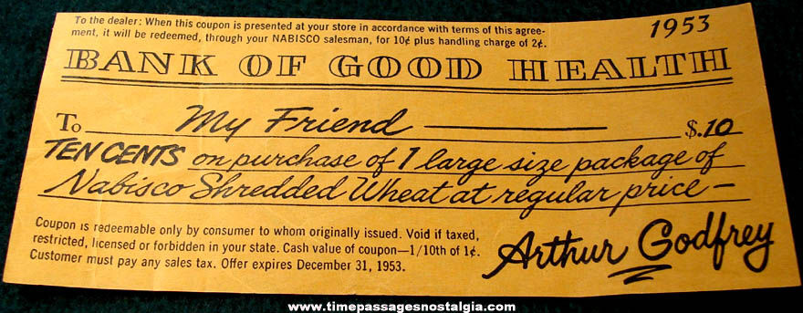 1953 Nabisco Shredded Wheat Cereal Advertising Arthur Godfrey Coupon