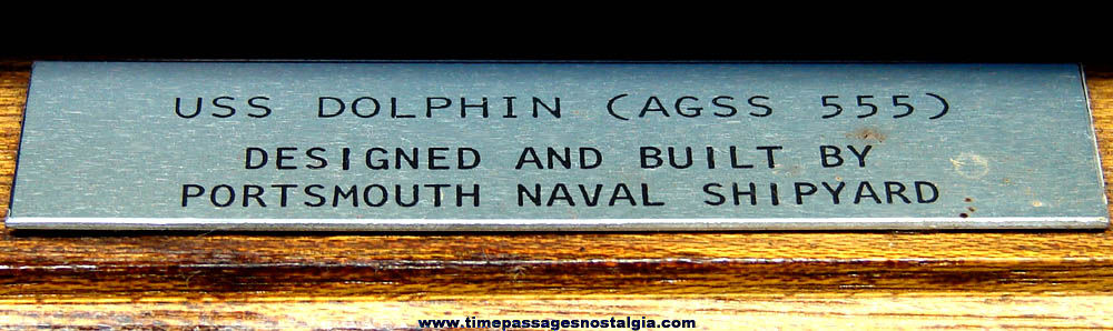 1960s U.S. Navy Submarine U.S.S. Dolphin AGSS-555 Shipyard Desk Model