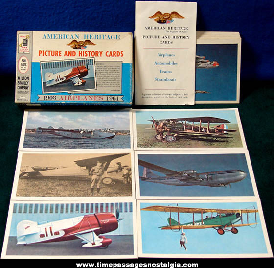 ©1961 Boxed Set of (40) Milton Bradley American Heritage Airplane Cards