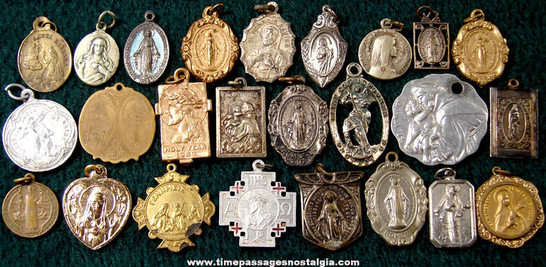 25) Old Catholic or Christian Religious Medals and Charms - TPNC