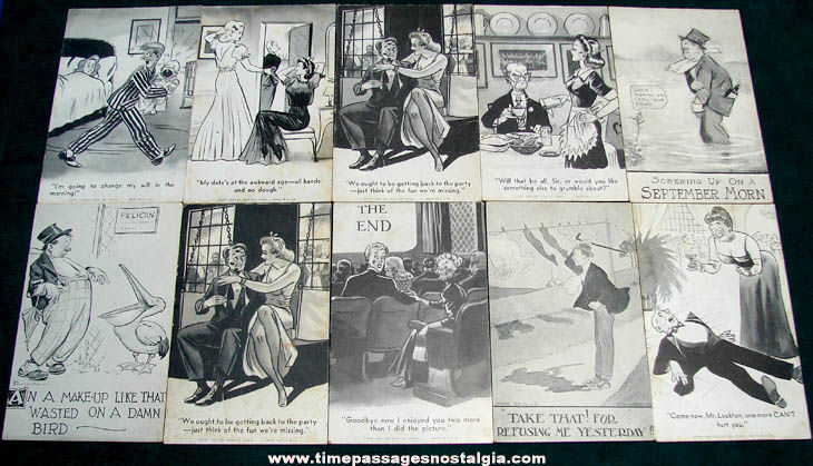 (10) 1940s Risque Comic Exhibit Supply Novelty Arcade Cards