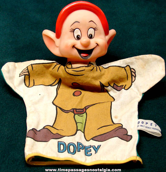 Old Walt Disney Snow White and The Seven Dwarfs Dopey Hand Puppet