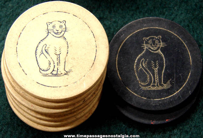 (9) Old Cat Poker Game Chips