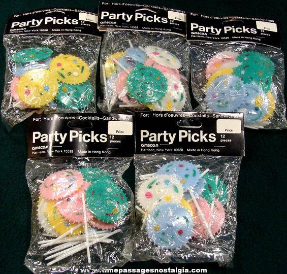 (60) Colorful Old Unused Hard Plastic Umbrella Food or Drink Party Picks