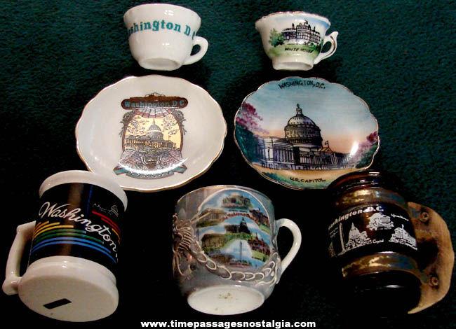 (5) Washington D.C. Advertising Souvenir Mugs & Tea Cups With Saucers