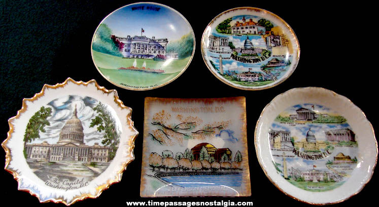 (5) Different Old Washington, D.C. Miniature Advertising Souvenir Plates
