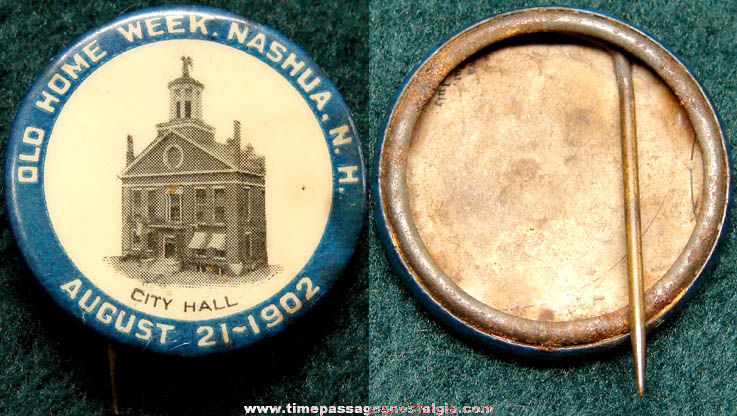 1902 Nashua New Hampshire City Hall Old Home Week Celluloid Pin Back Button