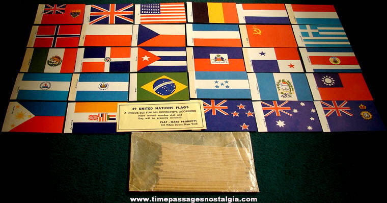 Old Unused Set of (29) Miniature United Nations Country Flags