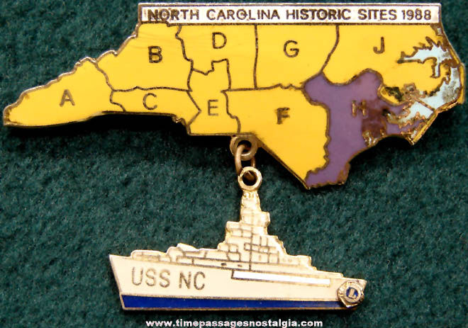 United States Navy U.S.S. North Carolina BB-55 Battleship Lions Club Pin