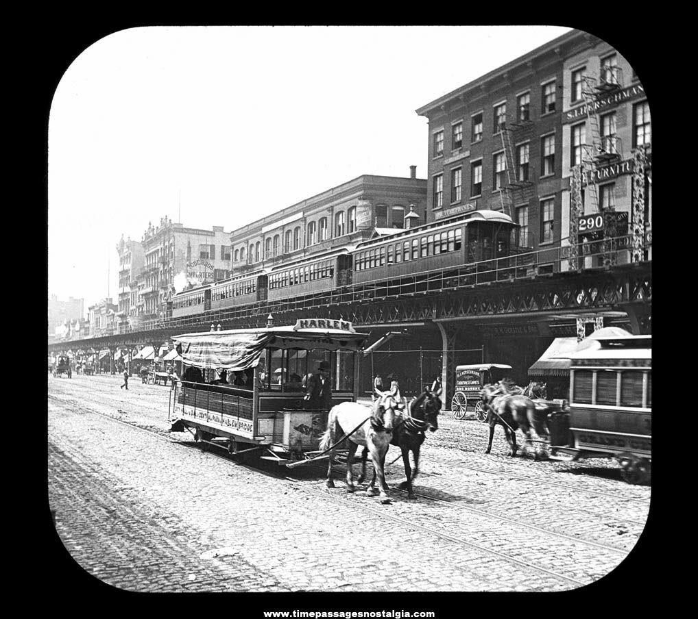 Old New York City Bowery Magic Lantern Glass Photograph Slide