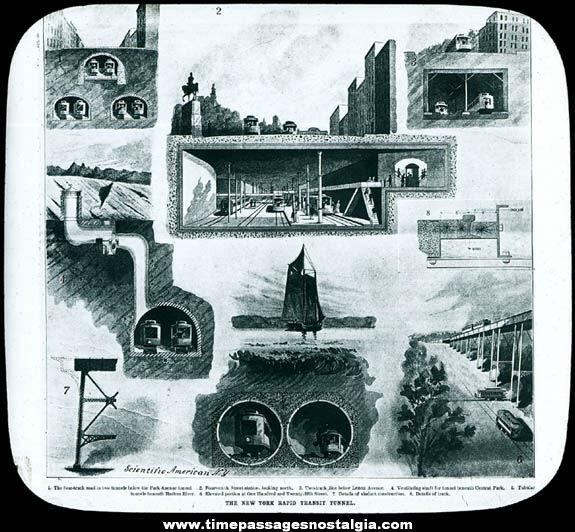 Old New York City Rapid Transit Tunnel Magic Lantern Glass Slide