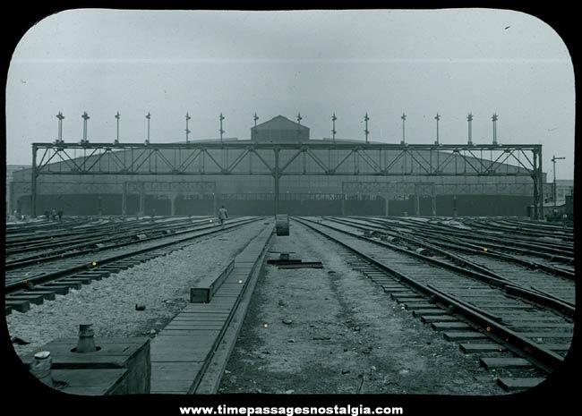 Old Boston South Union Station Railroad Tracks Magic Lantern Glass Photograph Slide