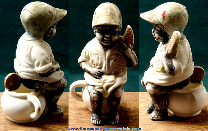 Old Porcelain Black Boy on Chamber Pot with Watermelon Figurine