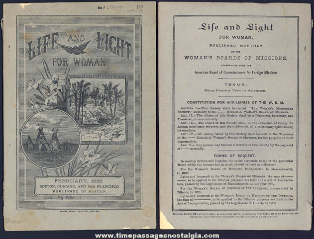 1888 Life and Light For Women Missionary Booklet