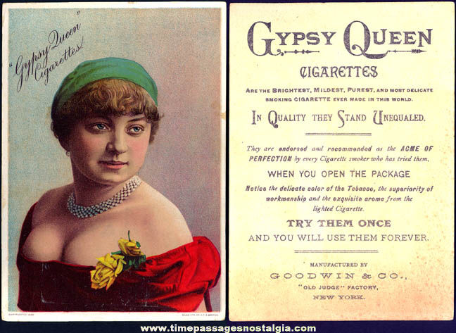 1800s Gypsy Queen Cigarettes Victorian Woman Advertising Premium Trade Card