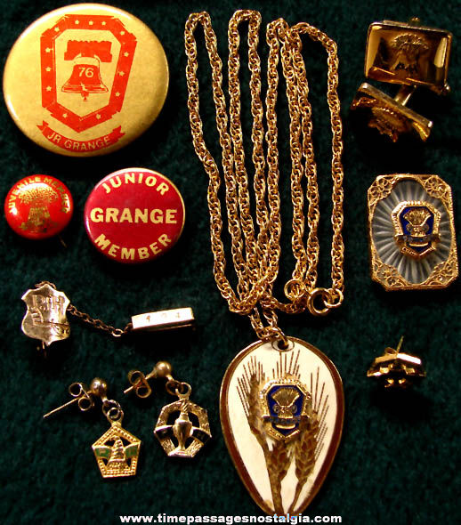 (10) Old Grange Fraternal Jewelry Items