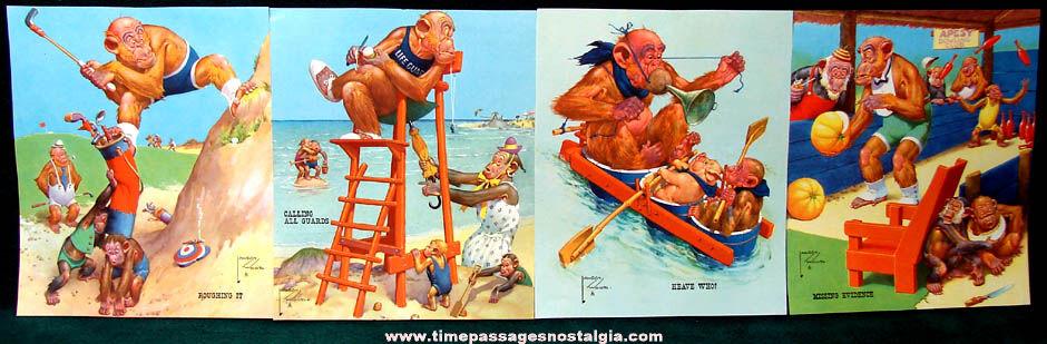 (12) Colorful Old Lawson Wood Comical Monkey Art Prints