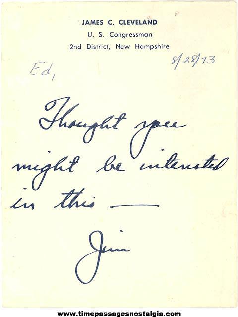 1973 New Hampshire Congressman James Cleveland Signed Memo Note