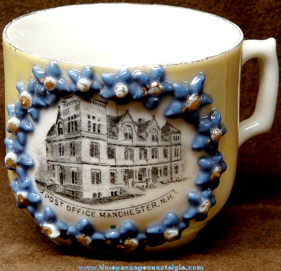 Old Porcelain Manchester New Hampshire Post Office Advertising Souvenir Cup