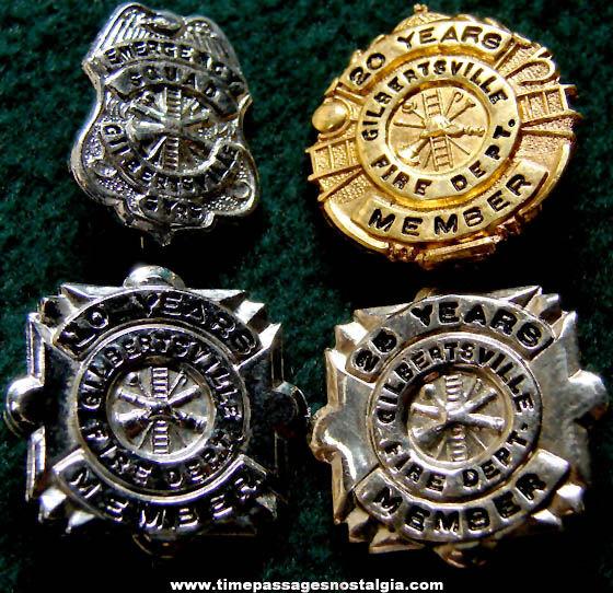(4) Different Old Miniature Gilbertsville Fireman Service Badge Pins