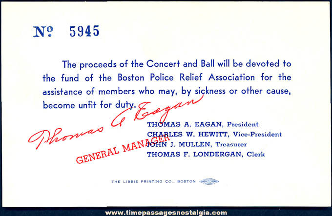 Unused 1939 Boston Police Relief Association Concert & Ball Ticket & Envelope