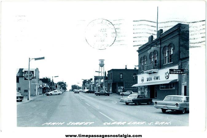 1967 Main Street Clear Lake South Dakota Real Photo Post Card