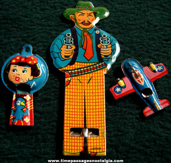 (3) Different Colorful Old Lithographed Tin Toy Whistles