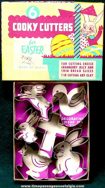 (6) Old Boxed Metal Easter Holiday Cookie Cutters