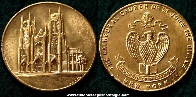 Old New York Cathedral Church of St. John The Divine Souvenir Medal Token Coin
