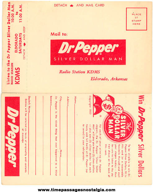 (4) Unused ©1952 Dr. Pepper Soda Slogan Contest Advertising Post Cards