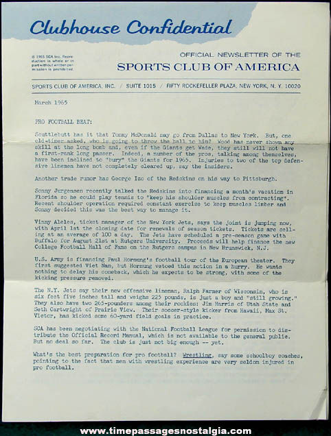 1965 Sports Club of America Letter & Newsletter